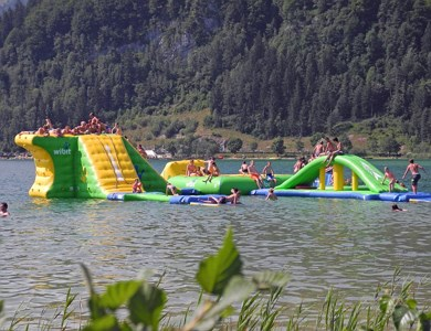 Swimming East Coast Walchsee with Aqua-Fun Park