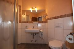 double room with shower, bath tube, WC
